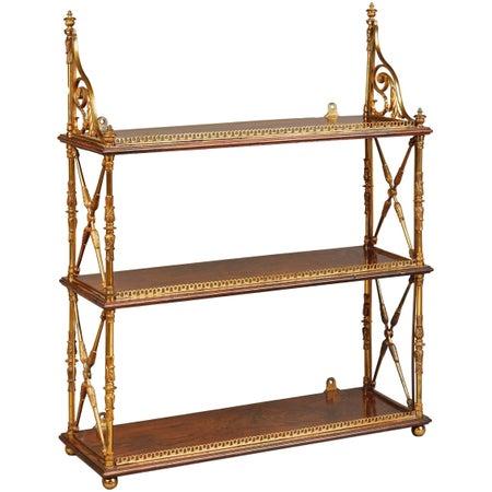 Regency Ormolu-Mounted Rosewood Tiered Hanging Shelves