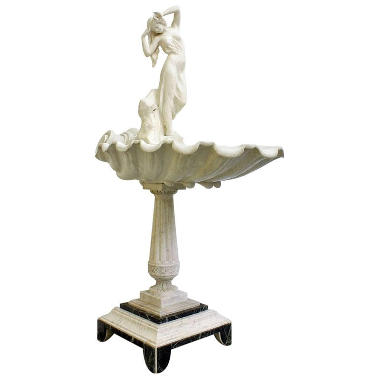 19th Century French Nude Marble Sculpture Fountain