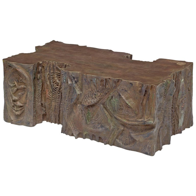 Philip and Kelvin Laverne Custom Bronze Sculpted Relief Coffee Table, USA 1969