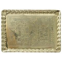 1920s, Art Deco Egyptian-Revival, Rectangular Brass Tray