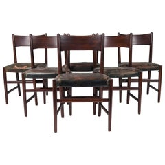Rare Set of Six Hans J. Wegner Model B102 Mahogany & Black Leather Dining Chairs