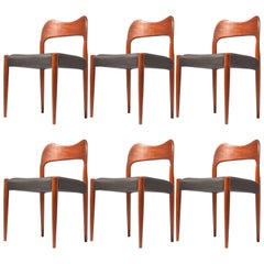 Six Arne Hovmand Olsen Danish Teak Dining Room Chairs