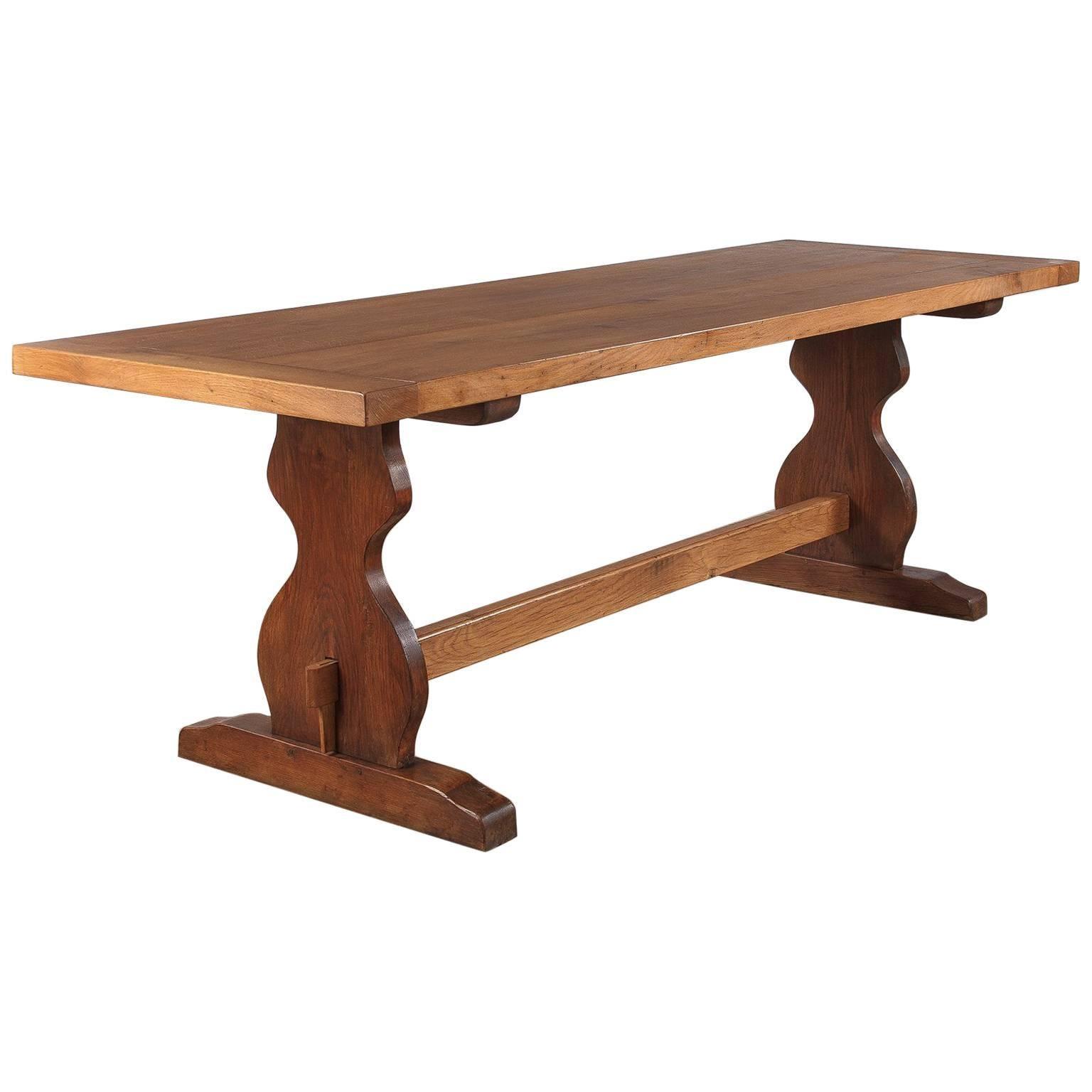French Golden Oak Trestle Table, 1940s