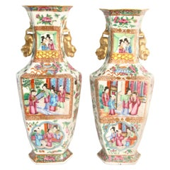 Pair of 19th Century Hexagonal Chinese Export Rose Mandarin Vases