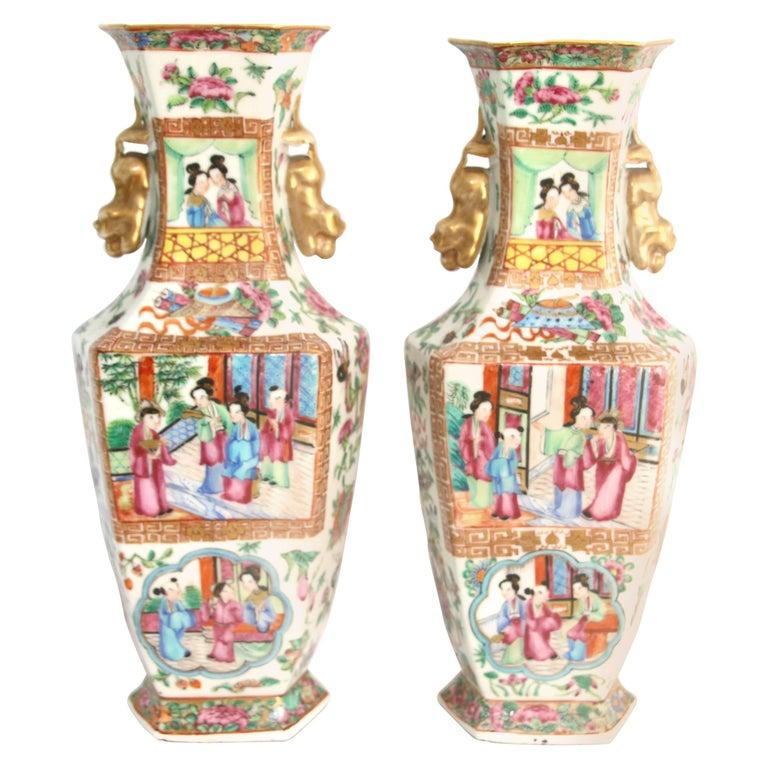 Pair of 19th Century Hexagonal Chinese Export Rose Mandarin Vases