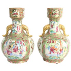 Pair of 19th Century Chinese Export Rose Mandarin Bottle Form Vases