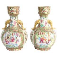 Pair of 19th Century Chinese Export Rose Mandarin Bottle Form Vases