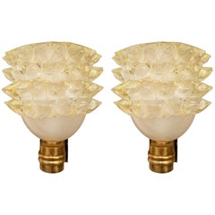 Pair of Two-Toned Gold Murano Italian Mid-Century Sconces with Brass Mounts