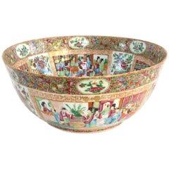 19th Century Chinese Export Rose Mandarin Punch Bowl