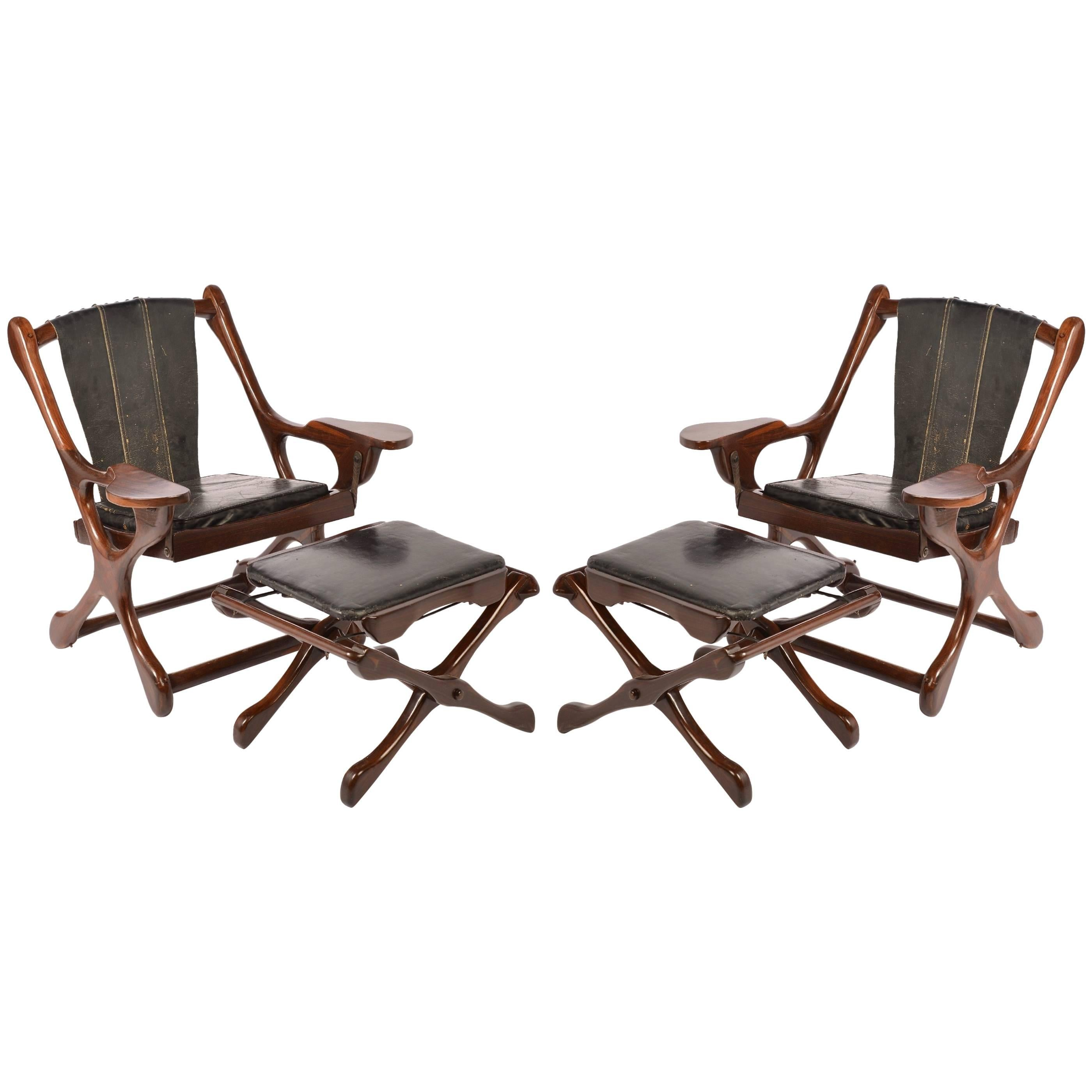 "Don Shoemaker Sling ""Swinger"" Chair and Ottoman for Señal, S.A, 1960"
