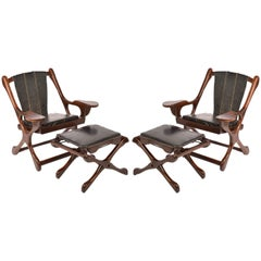 "Pair of Don Shoemaker Sling ""Swinger"" Chairs and Ottomans for Señal, S.A, 1960"