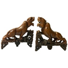 Striking Pair of Hand-Carved Panther Bookends in Rosewood
