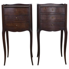 Pair of French Antique Oak Cabriole Leg Nightstands