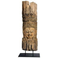 Southeast Asian Tree Carving of a Goddess on Stand