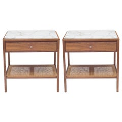 Harvey Probber Marble-Top and Cane End Tables or Nightstands with Single Drawer