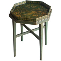 Chinoiserie Painted, Gilded Octagonal Antique English Tray Table, circa 1910
