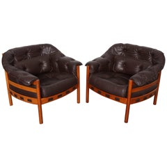 Pair of Tufted Brown Leather Lounge Chairs by Arne Norell