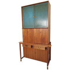 Mid-Century Two-Piece Hutch by Hickory