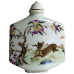 Chinese Porcelain Snuff Bottle, Deer Beneath Tree, Famille Rose, circa 1940s
