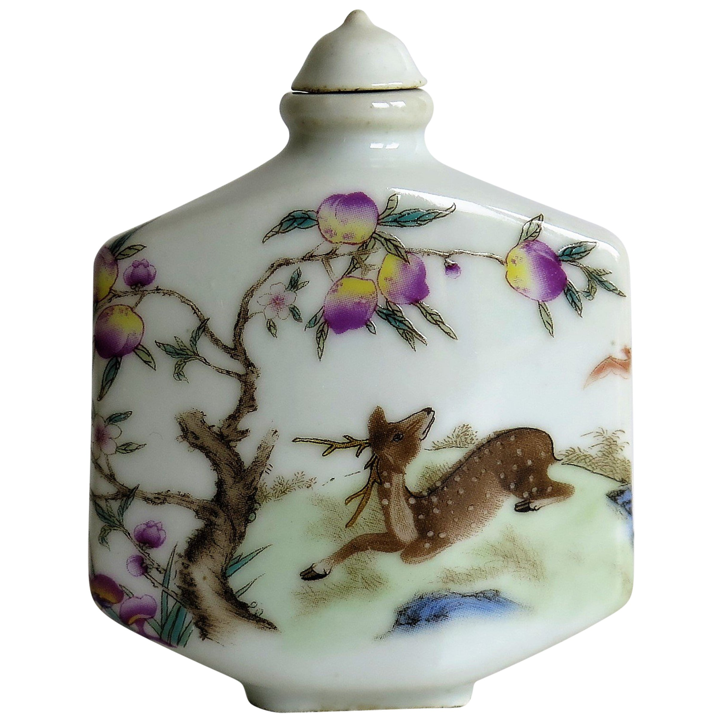 Chinese Porcelain Snuff Bottle Hand Painted Deer Famille Rose, circa 1940s