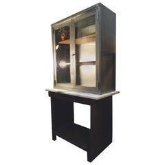 Industrial Metal Hutch with Marble