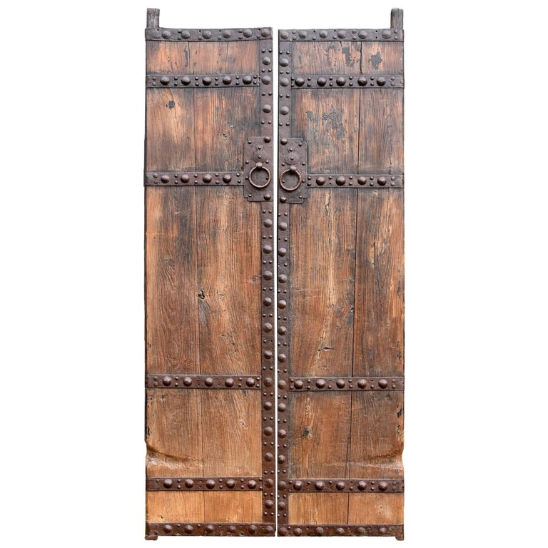 Antique Wooden Doors with Ironwork, Substantial, Chinese Rustic For Sale - Antique Wooden Doors With Ironwork, Substantial, Chinese Rustic For