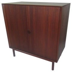 Peter Hvidt for John Stuart Solid Teak Tambour Door Cabinet