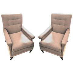 19th Century, Pair of Upholstered Club Chairs, England