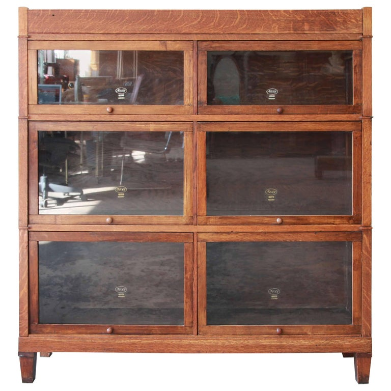 Antique Oak Double Barrister Bookcase By Macey For