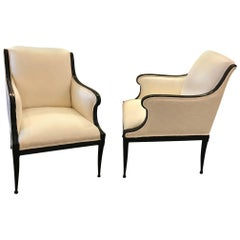 Pair of Glamorous Hollywood Regency Upholstered Chairs