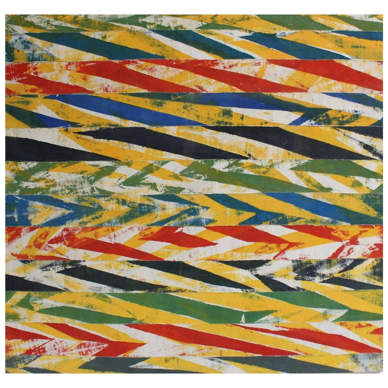 Woven African Fabric Collage Painting by Jacques Lamy