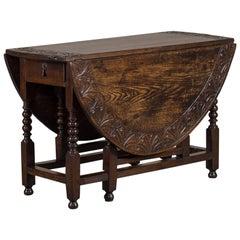 Antique English Oak Drop Leaf Table, circa 1885