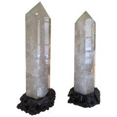 Pair of Quartz Rock Crystal Obelisks on Custom Hand-Carved Wooden Stands