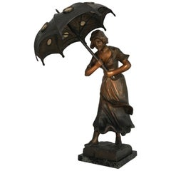 Antique Jugendstil Sculpture Table or Desk Lamp Girl with Umbrella in the Wind