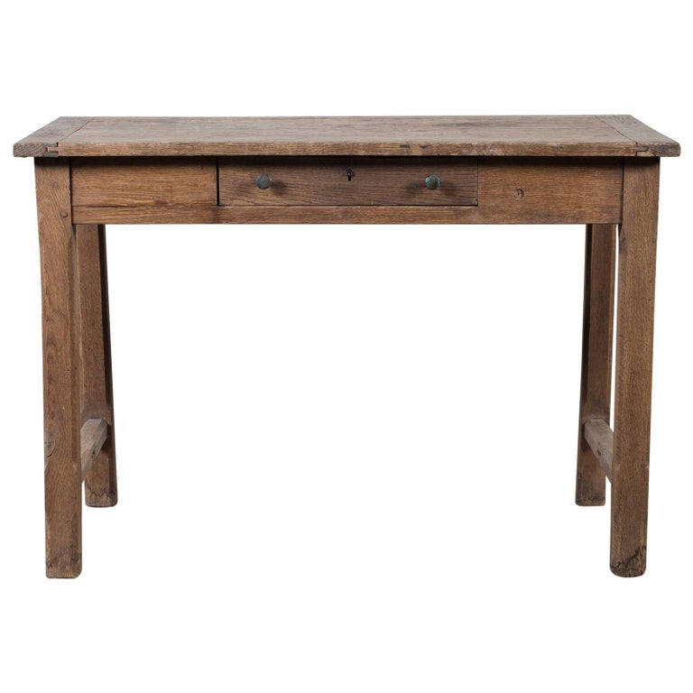 Antique French Louis Philippe Oak Table Having a Drawer, circa 1850
