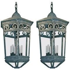 Pair of Large Copper Lanterns, England, 19th Century