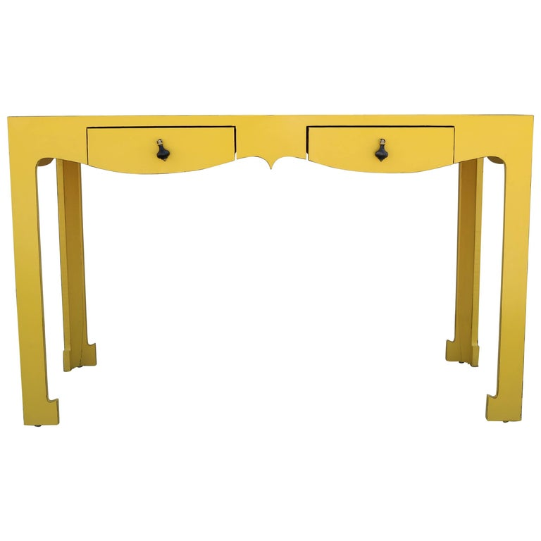 Unique And Whimsical Yellow Formica Writing Desk For