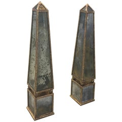 Pair of Classic Antique Gold Mirror Obelisks with Rubbed Gold Leaf Armature