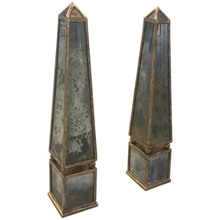 Pair of Classic Antique Gold Mirror Obelisks with Rubbed Gold Leaf Armature For Sale