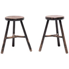 Pair of Chinese Tri-Leg Stools