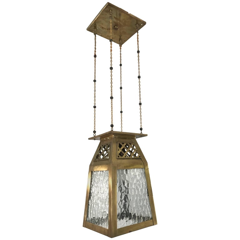 Good Looking, Early 1900s Arts and Crafts Pendant Brass and Glass Light Lantern