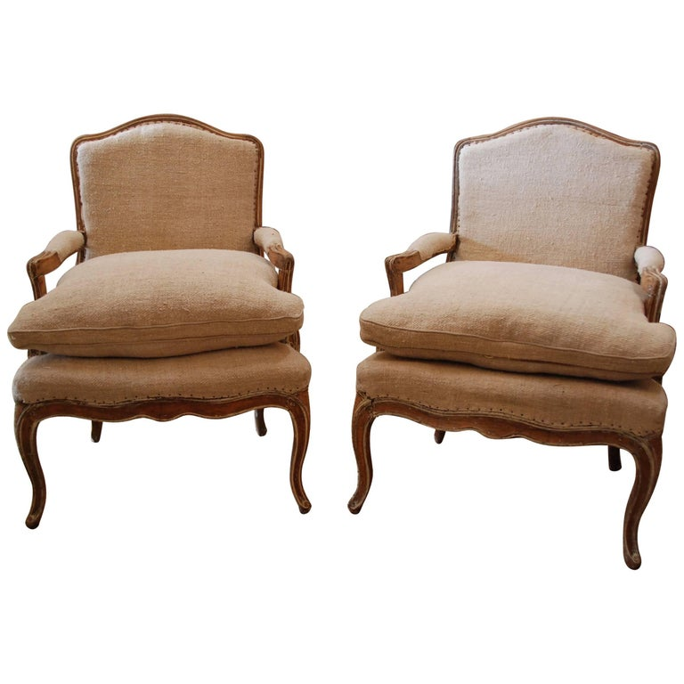 Pair of 19th Century French Bergère Chairs For Sale