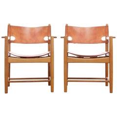 Mid-Century Modern Scandinavian Pair of Armchairs by Børge Mogensen Model 3238