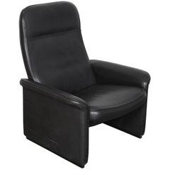 De Sede Black Leather Reclining Ds-50 Lounge Chair