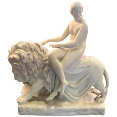 English Minton Porcelain Figure of Una and the Lion, 1847