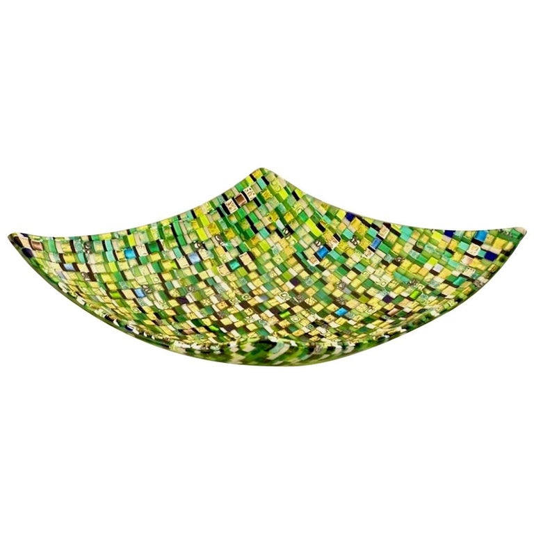 Modern Italian Jewel-Like Green Yellow & 24Kt Gold Murano Art Glass Mosaic Bowl For Sale
