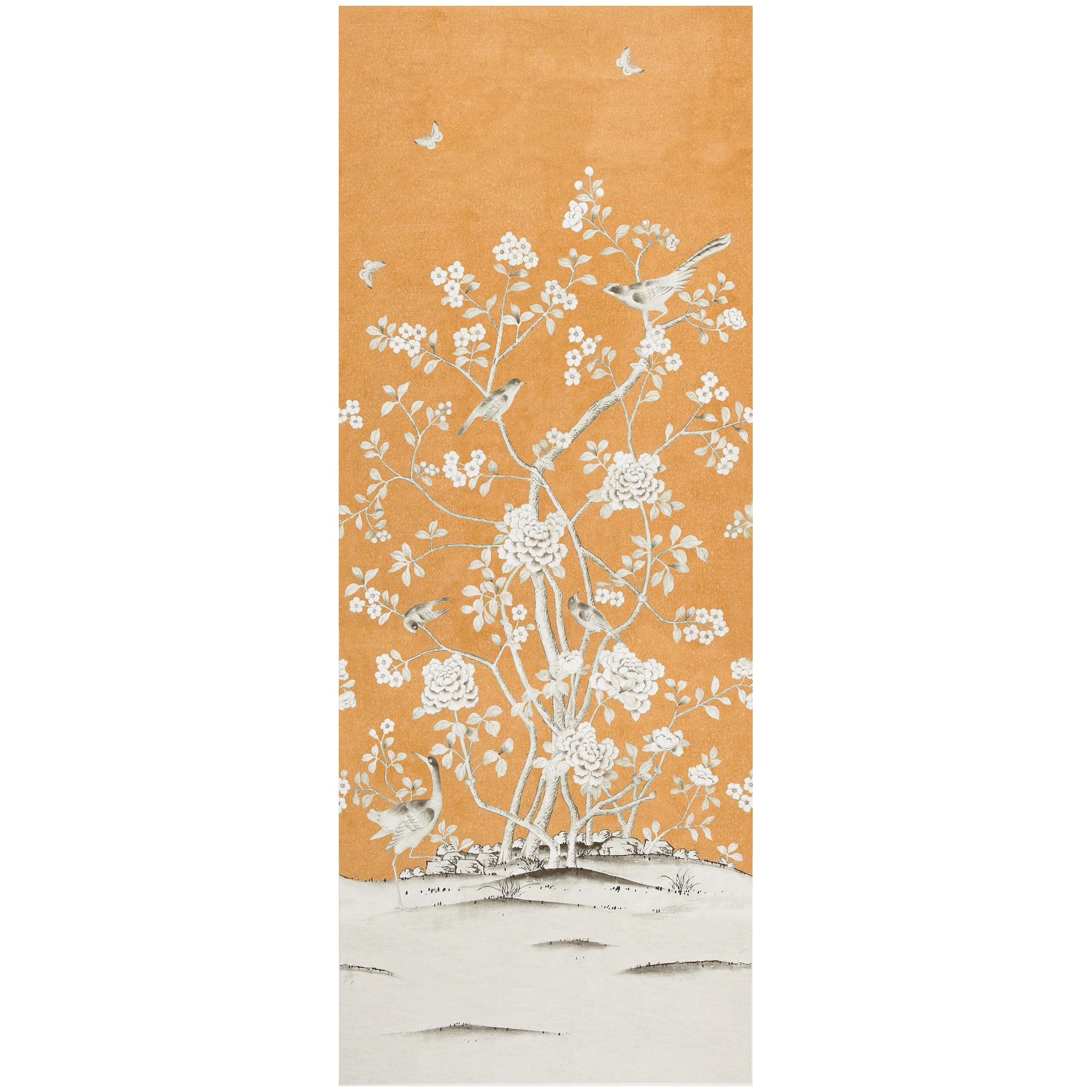 Schumacher by Mary McDonald Chinois Palais Wallpaper Mural in Tangerine