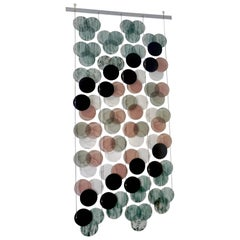 Organic Modern Italian Geometric Black Pink Aqua Murano Glass Curtain or Divider