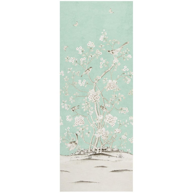 Schumacher Mary McDonald Chinois Palais Floral Aquamarine Wallpaper Panel For Sale