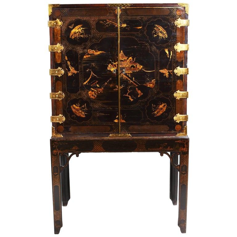 George III black japanned lacquer cabinet on stand, ca. 1780, offered by  Nicholas Wells Antiques Ltd